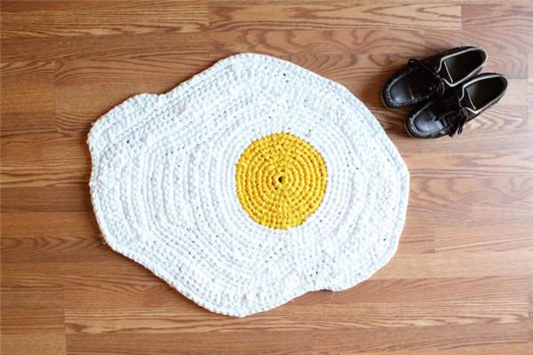 创意毛线编织煎蛋地垫
