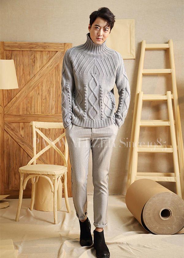 男士棒针高领毛衣