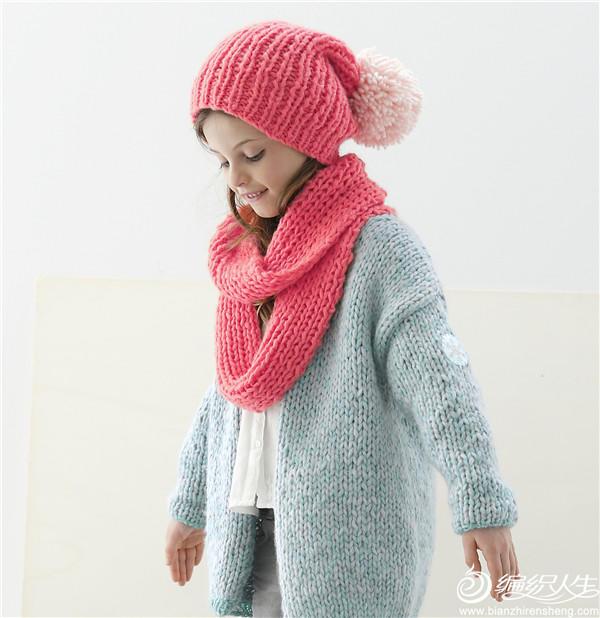 粗针织女童开衫毛衣