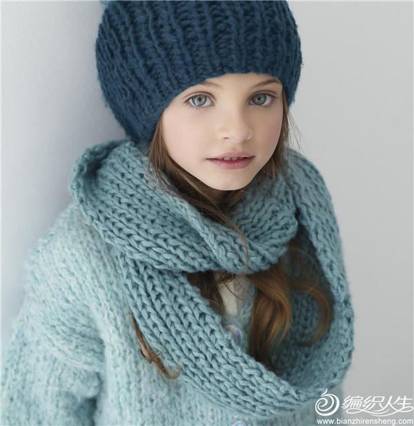 水色棒针帽子围巾
