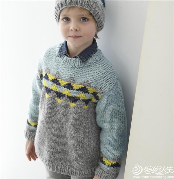 男童棒针拼色毛衣