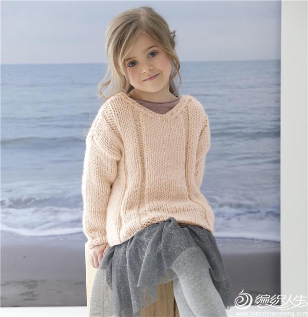 杏粉色女童棒针V领毛衣
