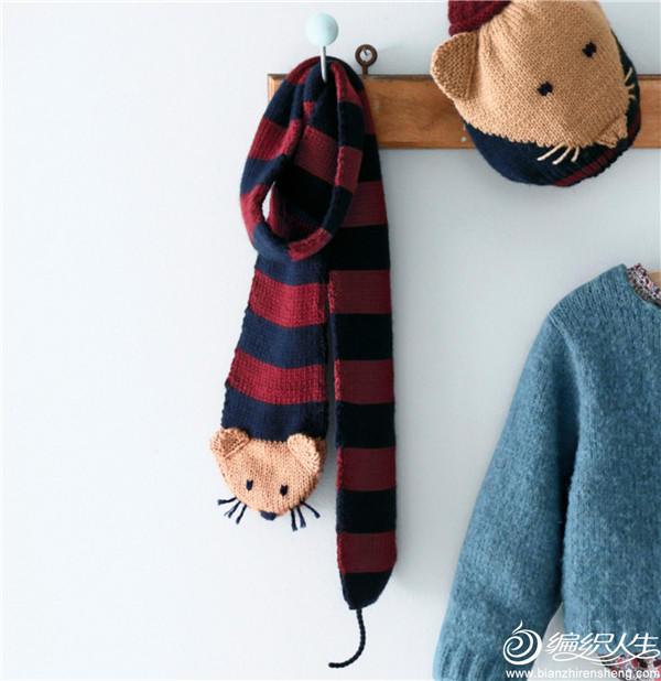 儿童棒针动物围巾帽子