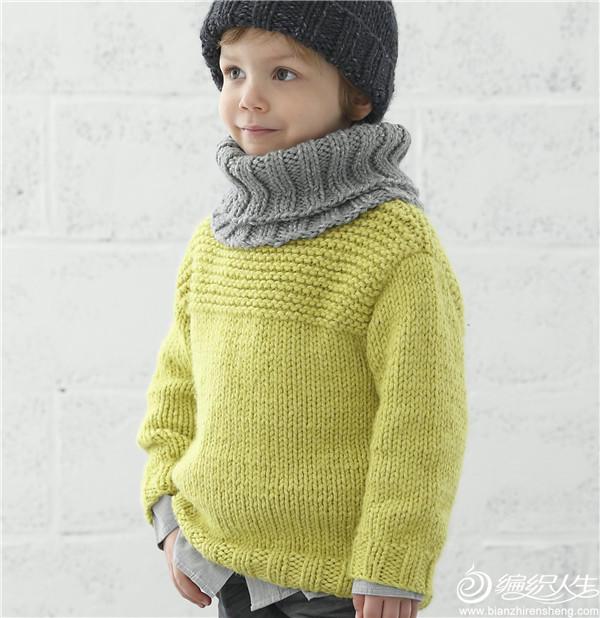 草木绿男童棒针毛衣