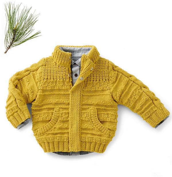 粗针织男童棒针毛衣