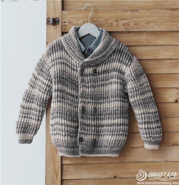 男童棒针双排扣青果领毛衣