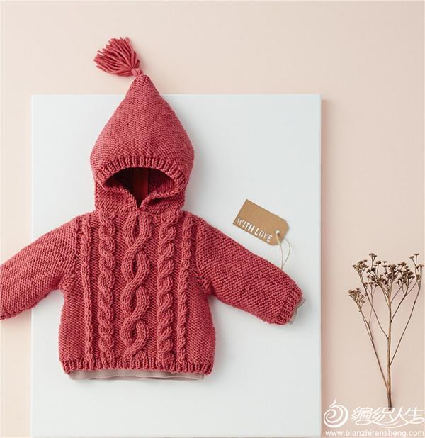 婴幼儿棒针麻花连帽衫