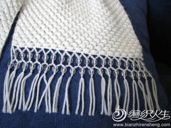 毛线围巾珠饰流苏