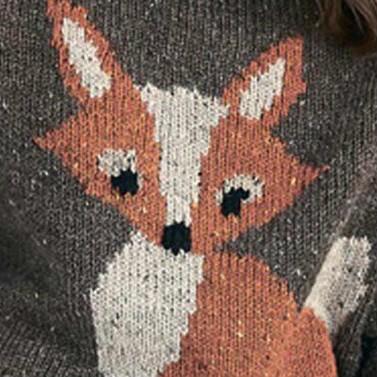 棒针狐狸图案