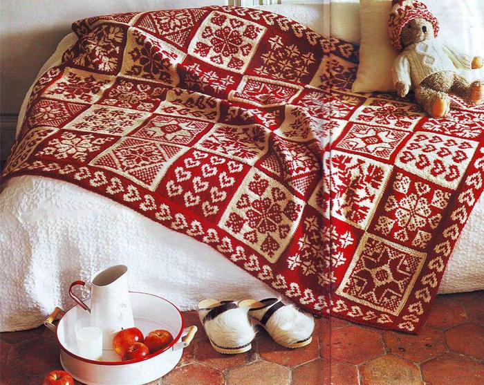 棒针提花毯子