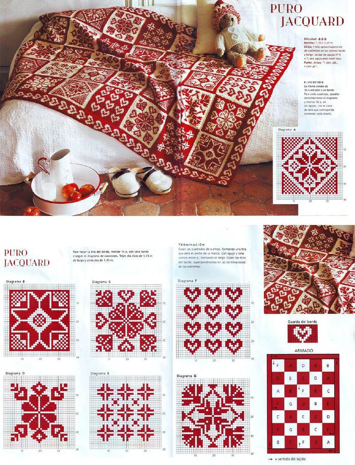 提花毯子图解