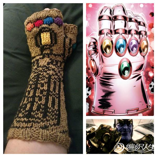棒针织无限手套