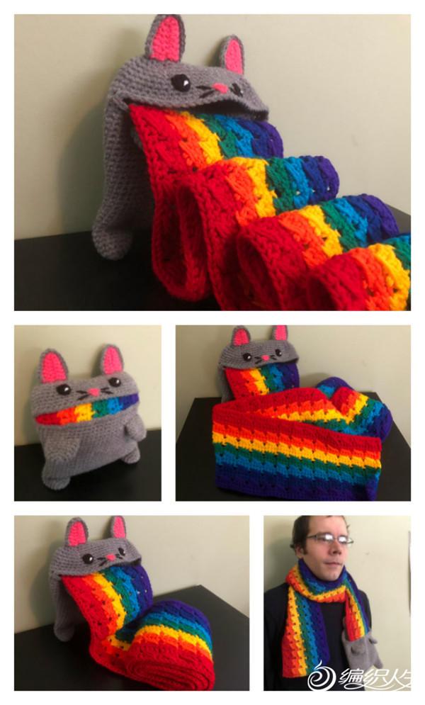 钩针彩虹围巾