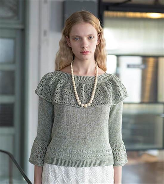荷叶领女士棒针毛衣
