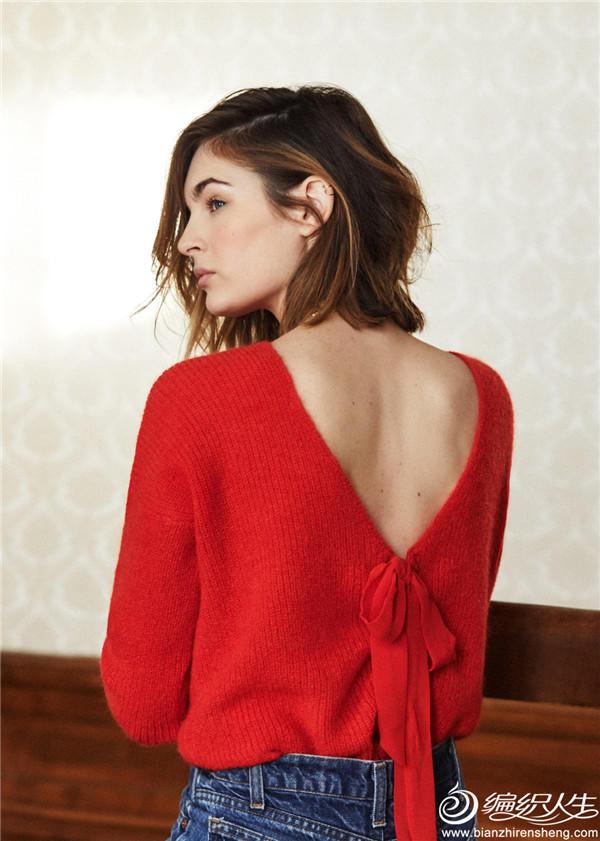 红色针织露背蝴蝶结毛衣