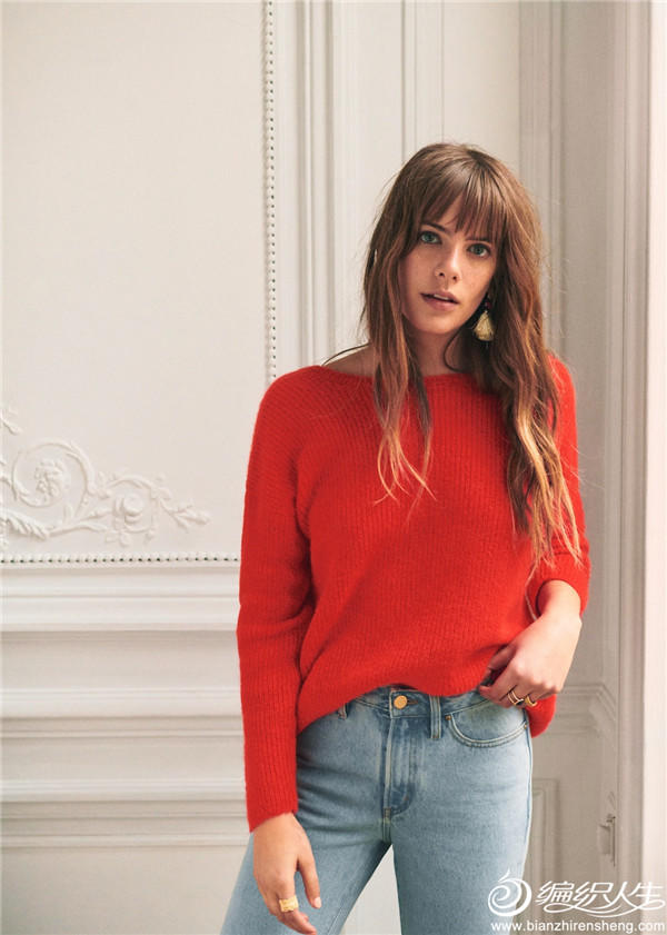 法国品牌针织红色毛衣