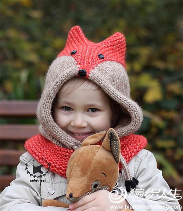 萌可爱棒针狐狸儿童围脖帽