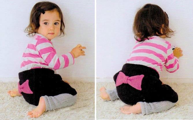蝴蝶结棒针儿童裤