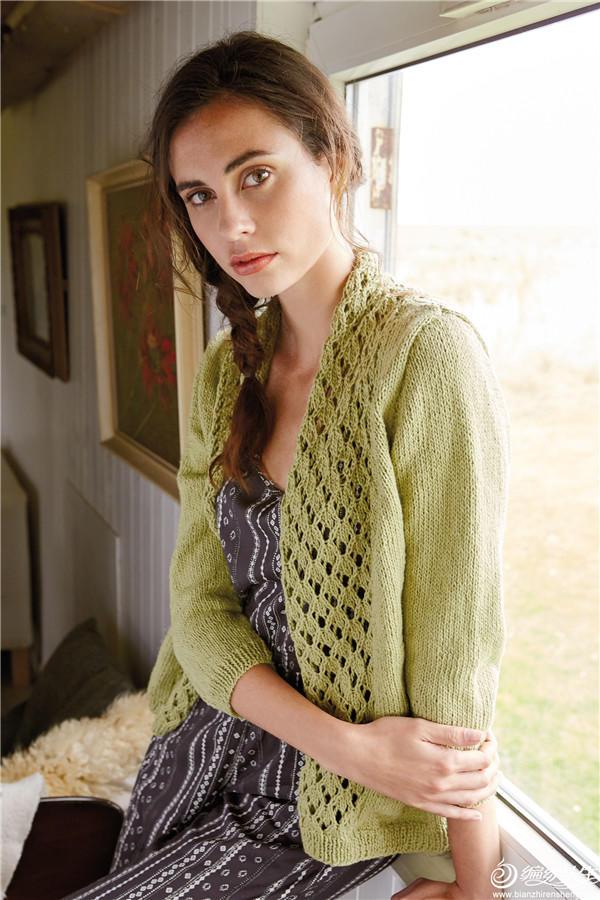 女士棒针蕾丝镂空花开衫