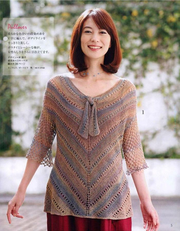 女士钩织结合V领套衫