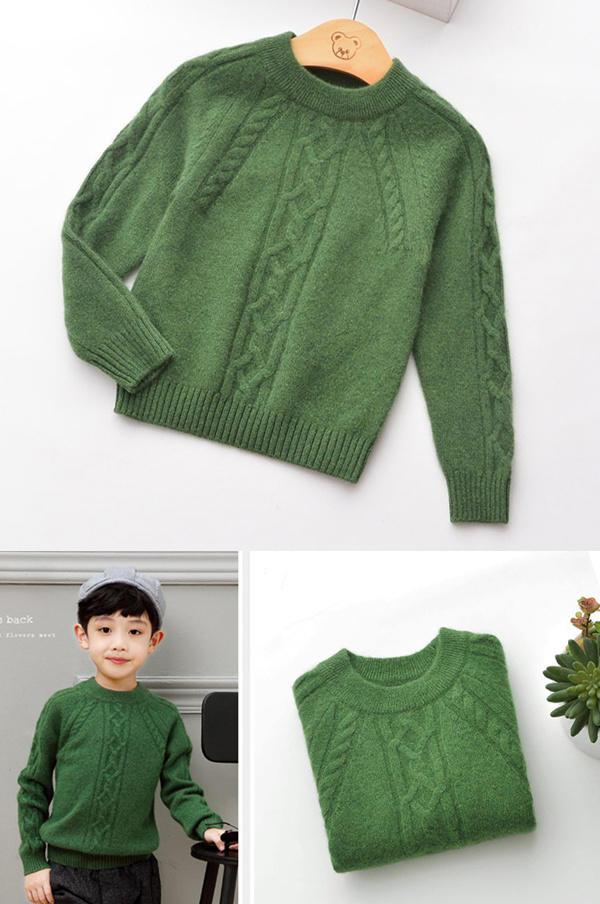 男童棒针羊绒衫