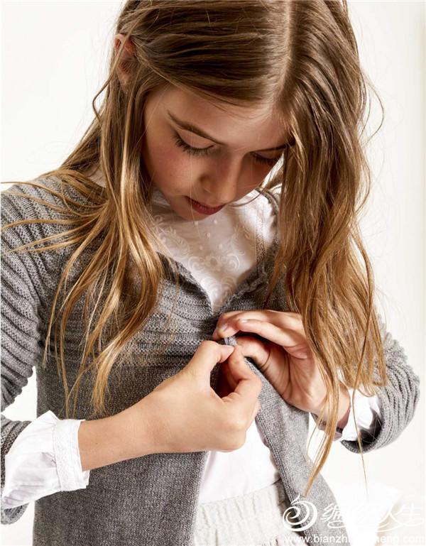 灰色小圆领棒针开衫