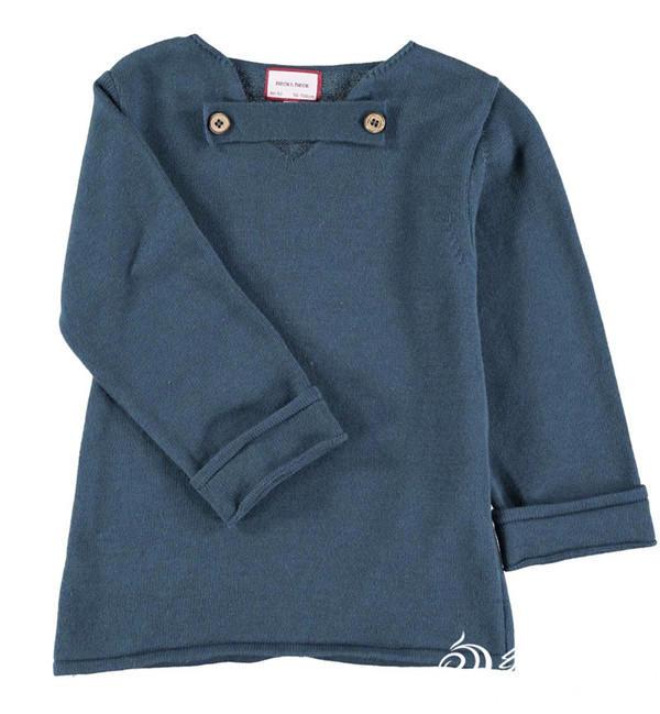 儿童棒针V领毛衣