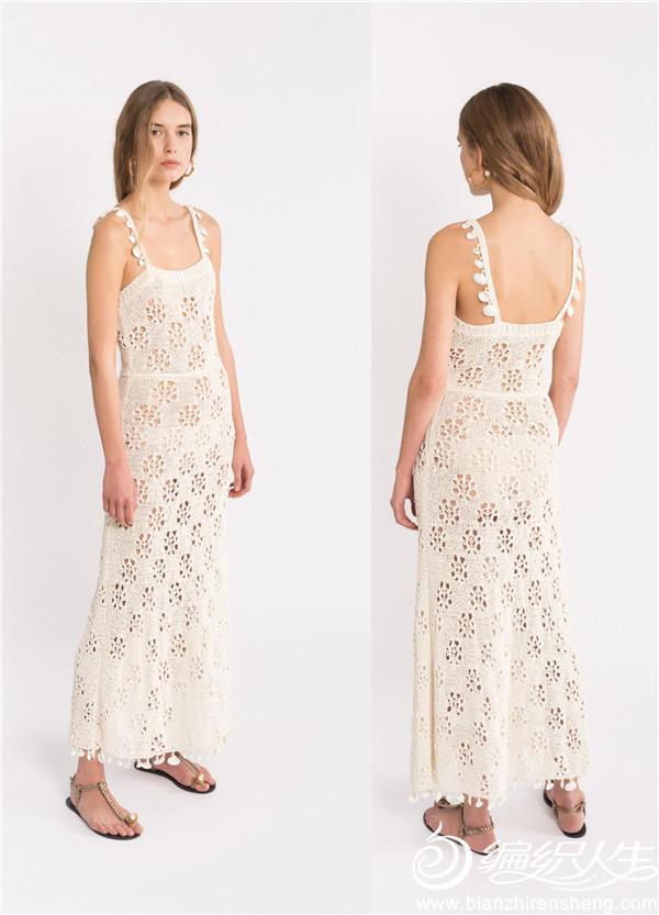 女士棒针镂空花吊带裙