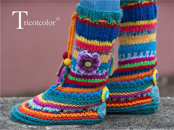 彩色毛线鞋