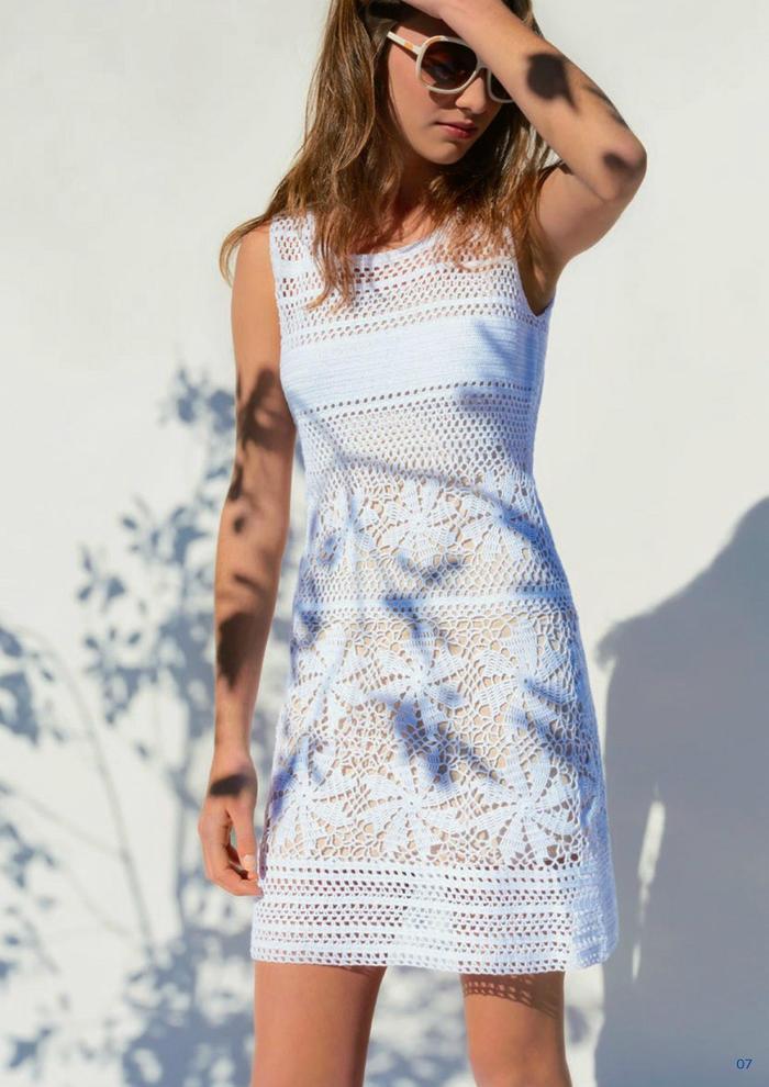 小白裙女士钩针蕾丝背心裙