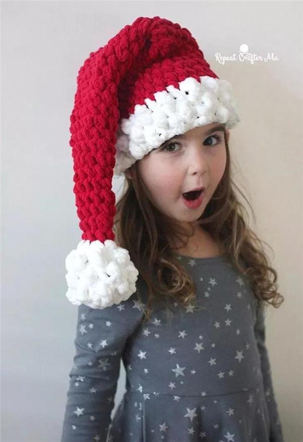 珊瑚绒钩针圣诞帽
