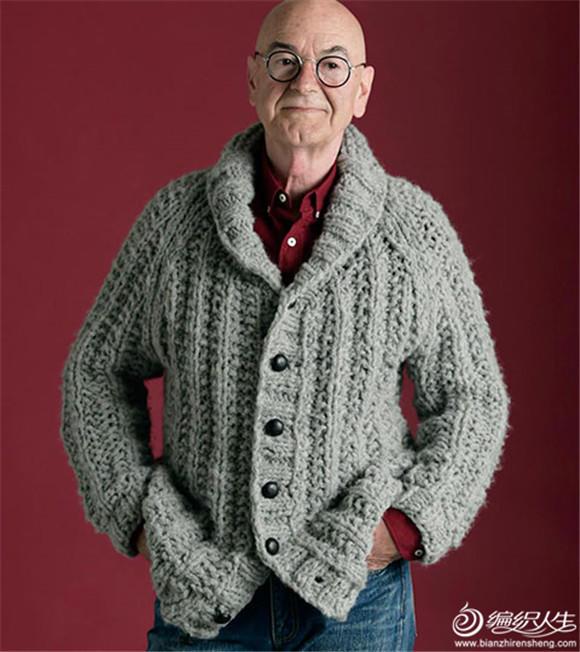 男士棒针青果领毛衣