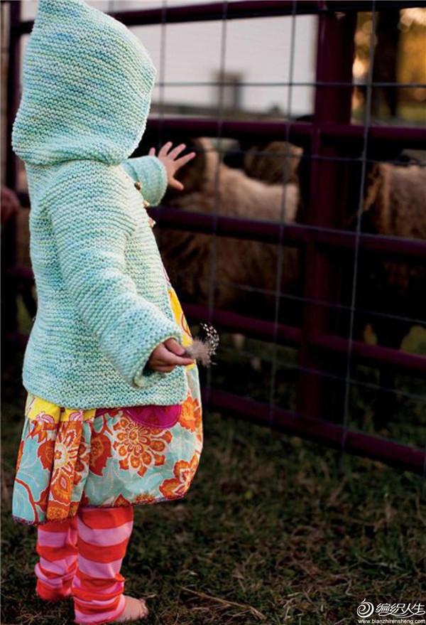 儿童棒针搓板针帽衫