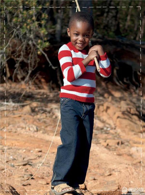 男童棒针条纹毛衣