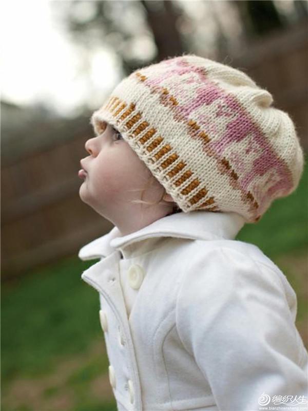 儿童棒针提花帽子
