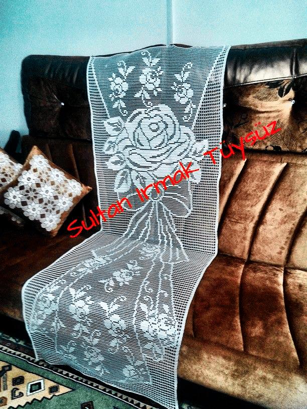 钩针方格编玫瑰图案 唯美蕾丝帘饰编织图解 - 壹一 - 壹一编织博客