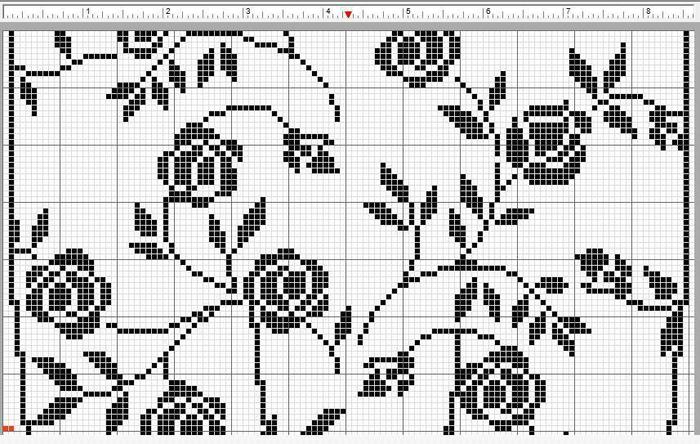 钩针方格编玫瑰图案 唯美蕾丝帘饰编织图解