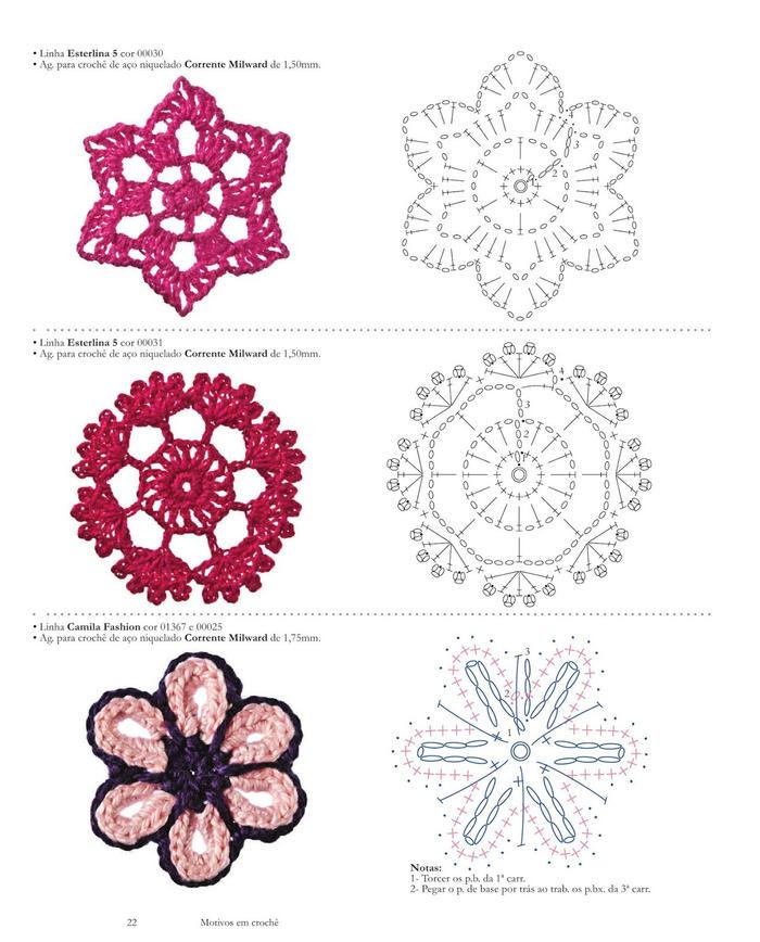 百余款漂亮毛线钩花图案 钩针花朵叶子编织图解