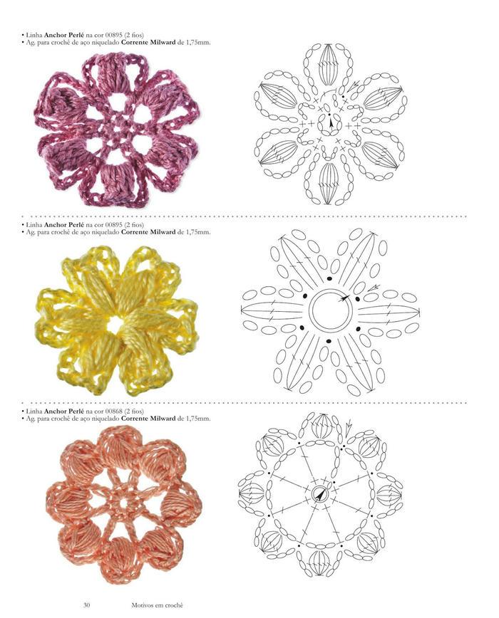 编织花样 百余款漂亮毛线钩花图案 钩针花朵叶子编织图解