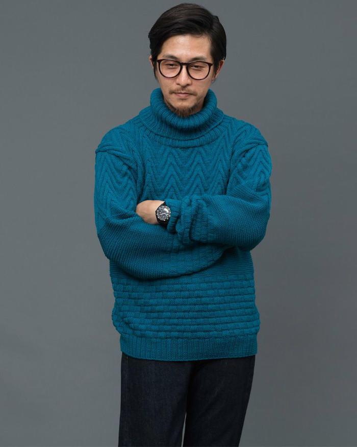 棒针男士高领毛衣