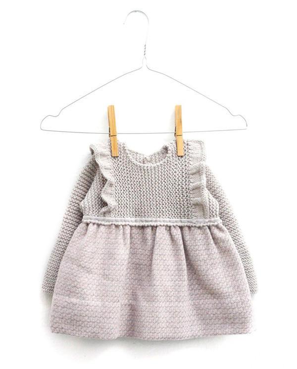 织布结合儿童棒针连衣裙