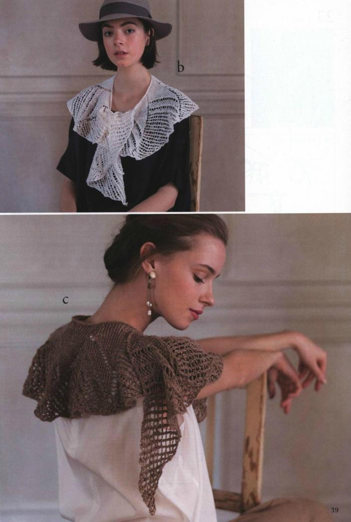 女士棒針鏤空花圍巾