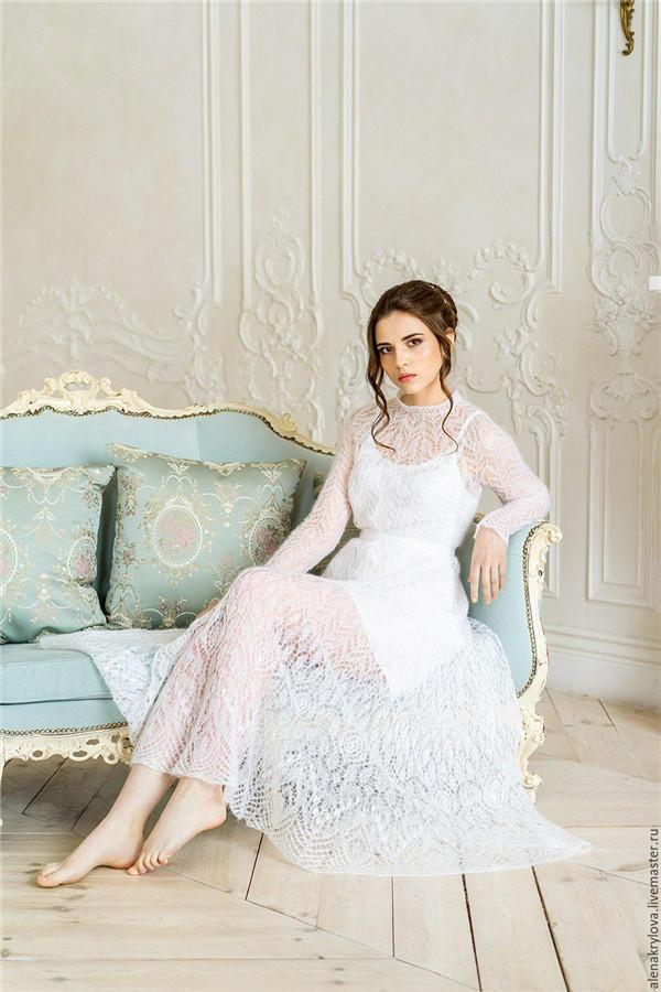 爱莎尼亚棒针蕾丝婚纱