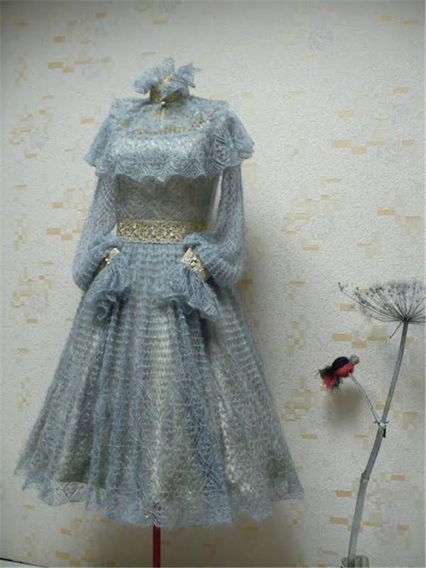 女士棒针蕾丝礼服裙