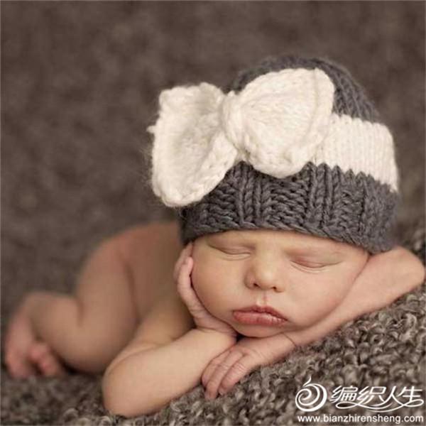 婴儿棒针蝴蝶结帽子