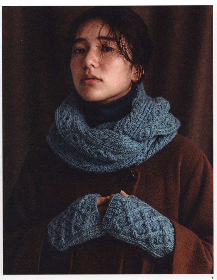 麻花围巾手套