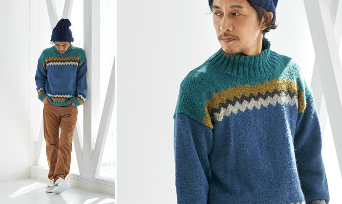 粗花呢男士拼色毛衣