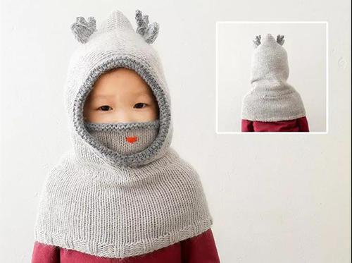 宝宝棒针围脖帽