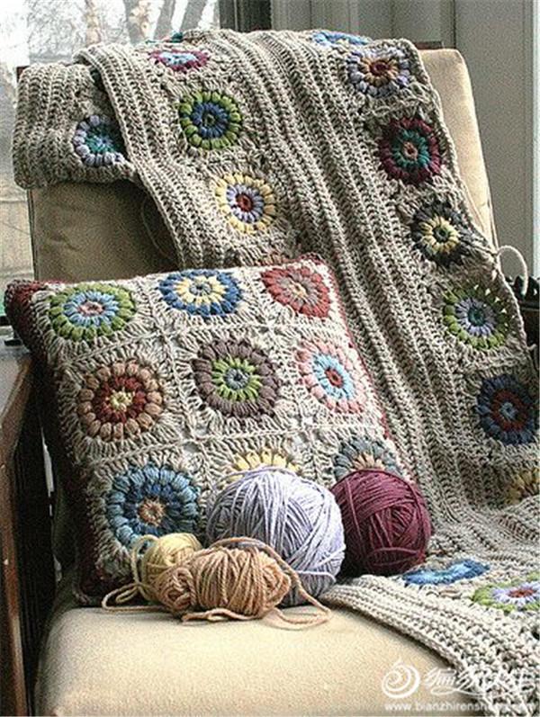 祖母方格抱枕毯子