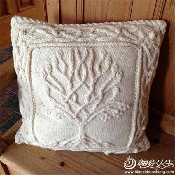 棒针浮雕立体花抱枕